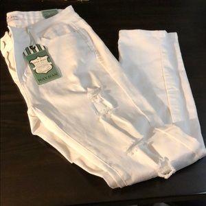 Wax Jeans White Ripped Size 13 Skinny Stretch